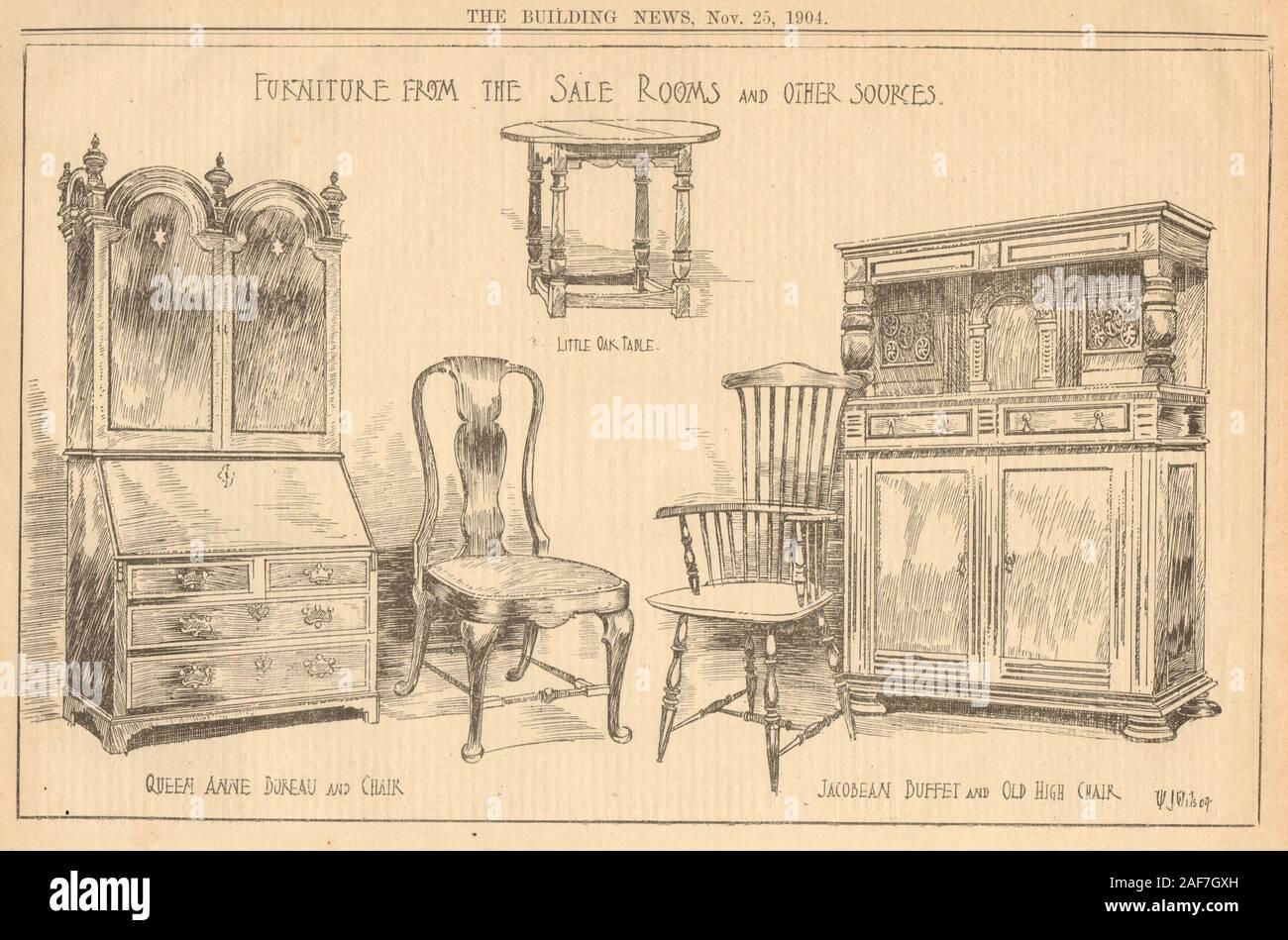 Furniture. Oak table Queen Anne bureau chair Jacobean buffet high chair 1904 Stock Photo