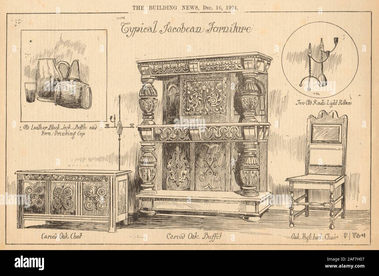 Jacobean furniture. Carved oak chest buffet highback chair horn cup 1904 print Stock Photo