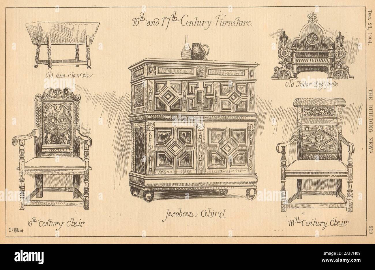 16-17th century furniture. Chair Jacobean cabinet Tudor dog grate flour bin 1904 Stock Photo
