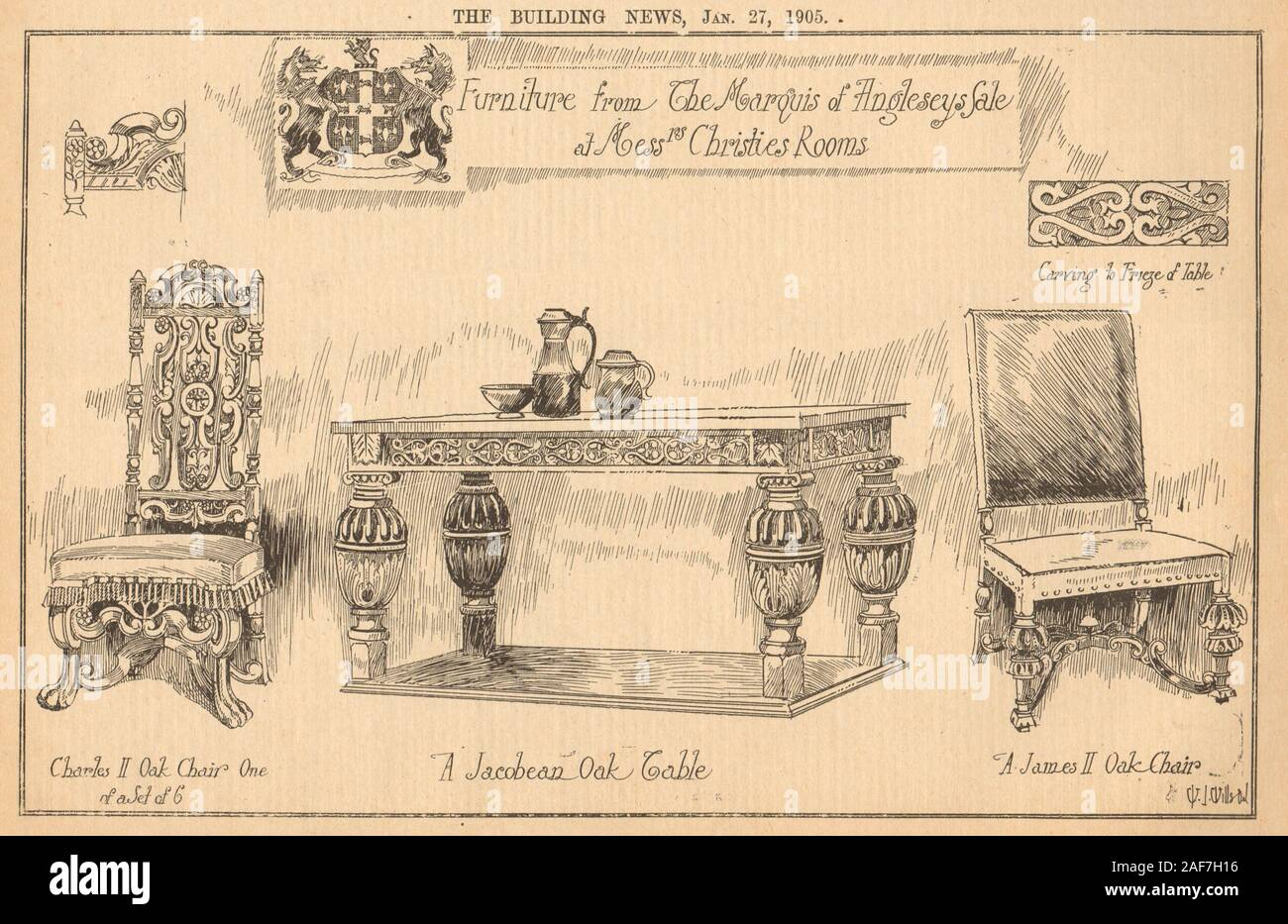 Christies furniture auction. Marquis of Anglesey. James/Charles II Jacobean 1905 Stock Photo