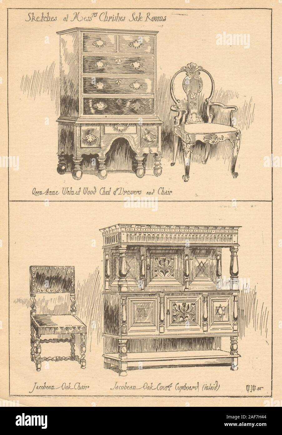 Christies furniture auction. Queen Anne chest chair Jacobean oak cupboard 1905 Stock Photo