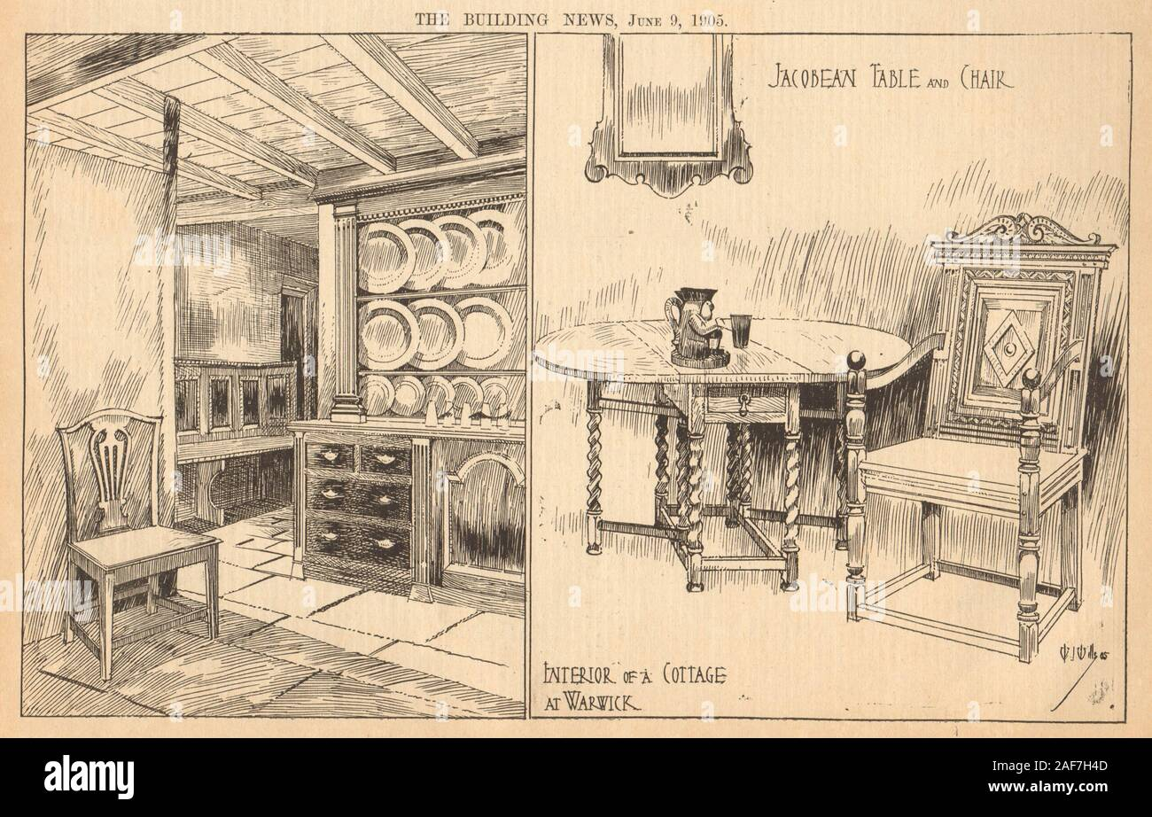 Interior of a cottage in Warwick. Jacobean table & chair. Warwickshire 1905 Stock Photo