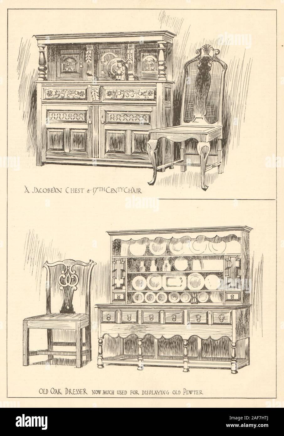 A Jacobean chest & 17th cent chair, old oak dresser 1907 antique print Stock Photo
