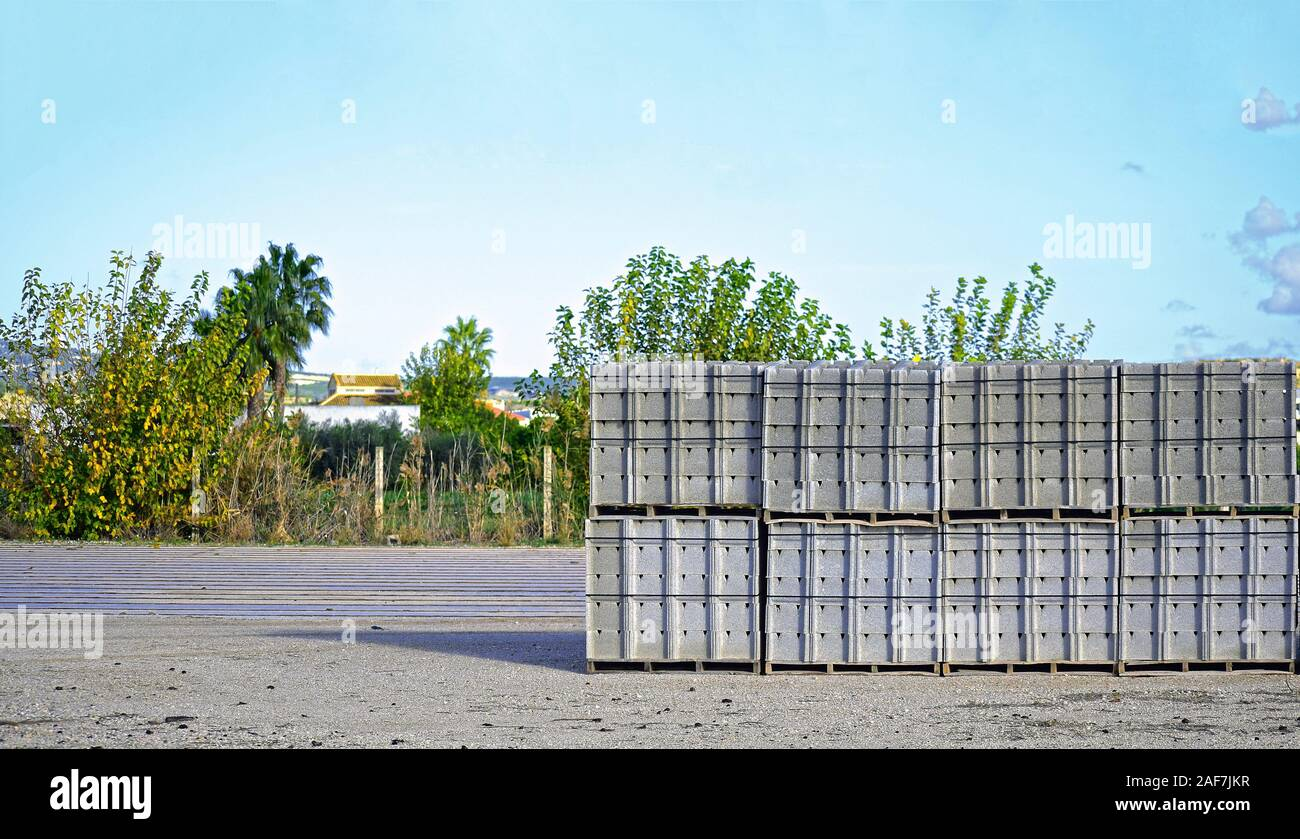 Stacked cement bricks in a construction factory in Spain Stock Photo