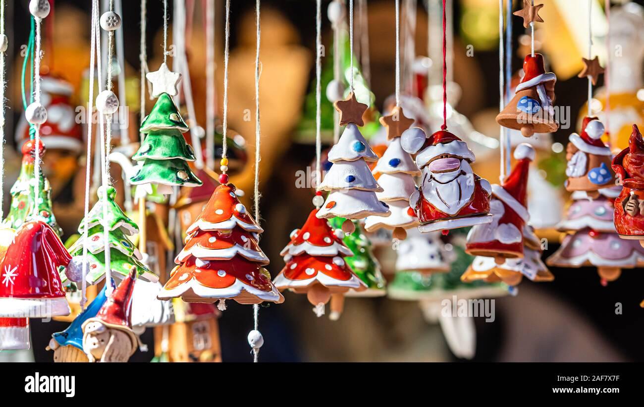 Christmas Ceramics Decorations On Christmas Market At Riga Latvia Image Stock Photo Alamy