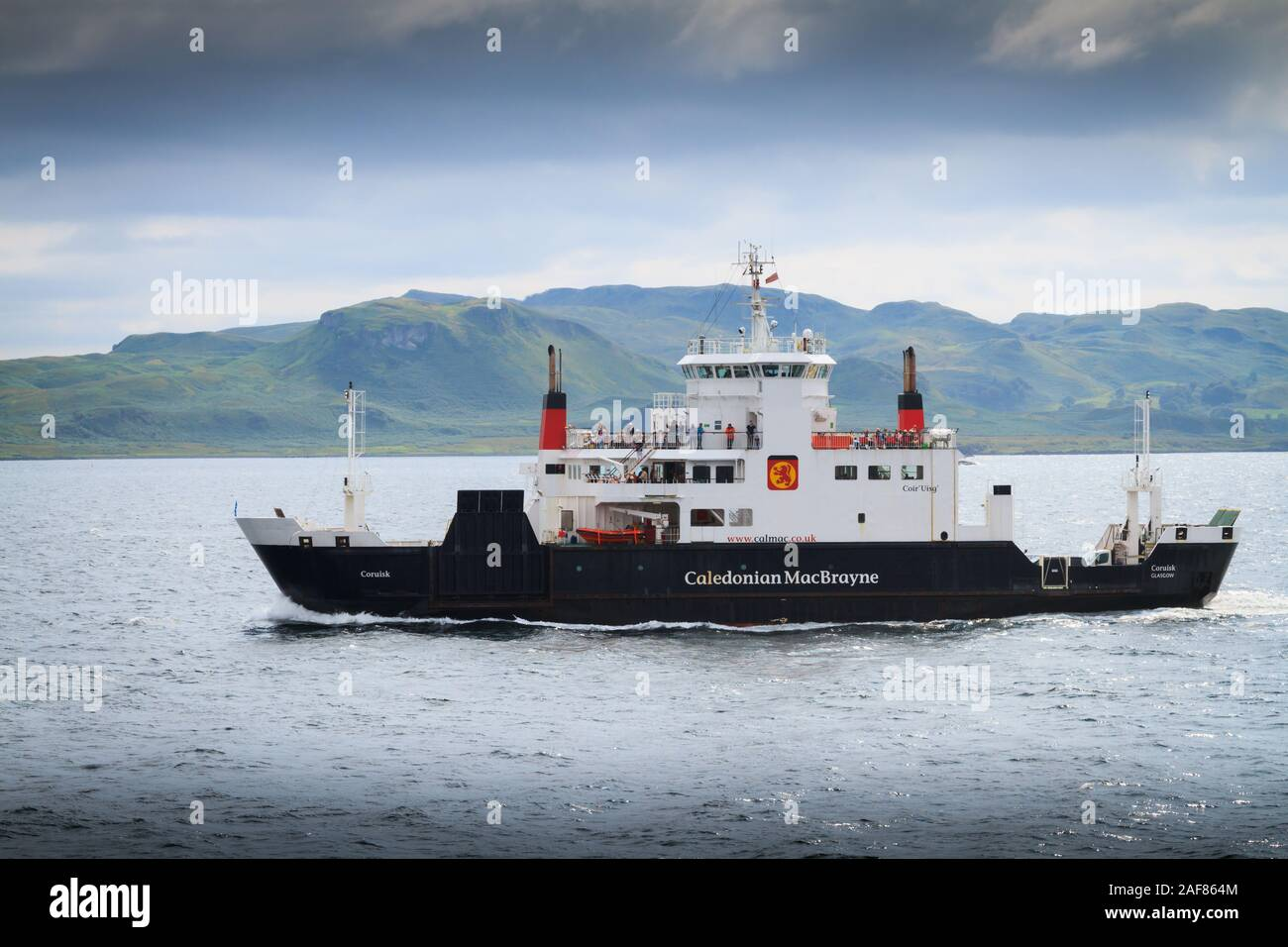 MV Coruisk car and passenger ferry operated by Caledonian MacBrayne sailing across the Sound of Mull to Oban in Scotland Stock Photo