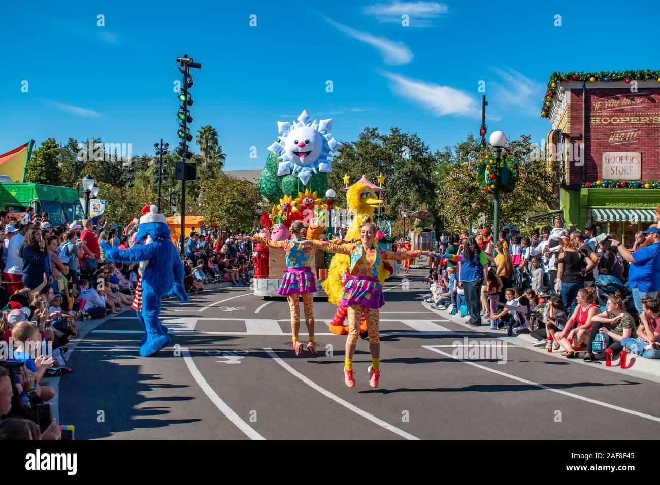 Grover Christmas Parade 2020 Orlando, Florida. December 07, 2019. Grover , Big Bird and dancers