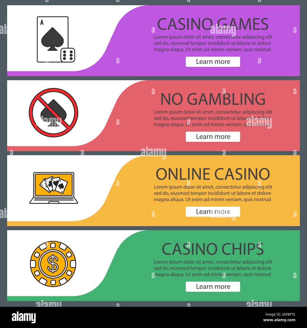 Casino Web Banner Templates Set Card Game Gambling Prohibition Online Poker Casino Chip Website Color Menu Items Vector Headers Design Concepts Stock Vector Image Art Alamy