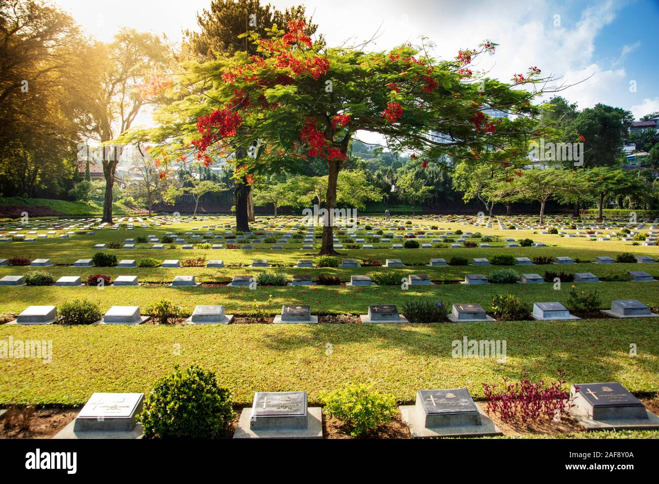 War cemetery for Anzac, British and Dutch soldiers killed in World War Two, Ambon, Indonesia Stock Photo