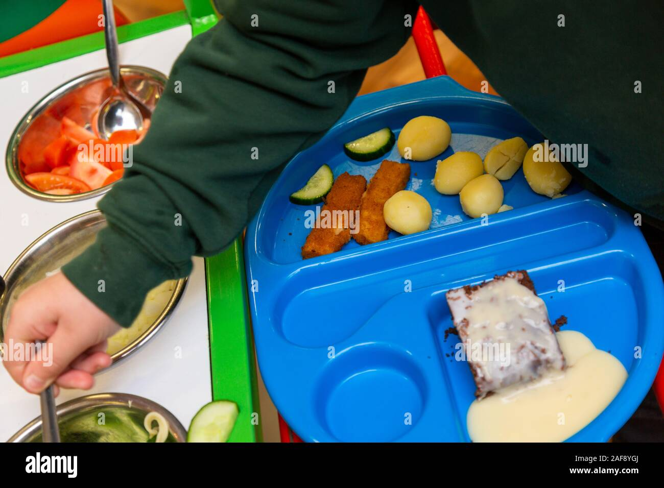 Tray of school lunch or dinner in a UK primary school Stock Photo