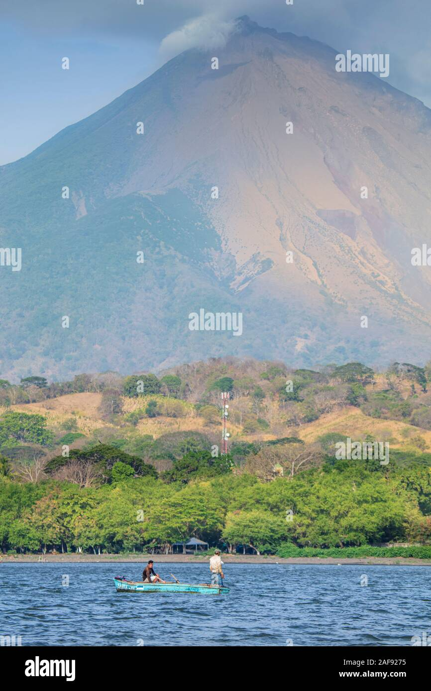 View of Concepcion volcano and the shoreline of Ometepe Island in Lake Nicaragua, Central America Stock Photo