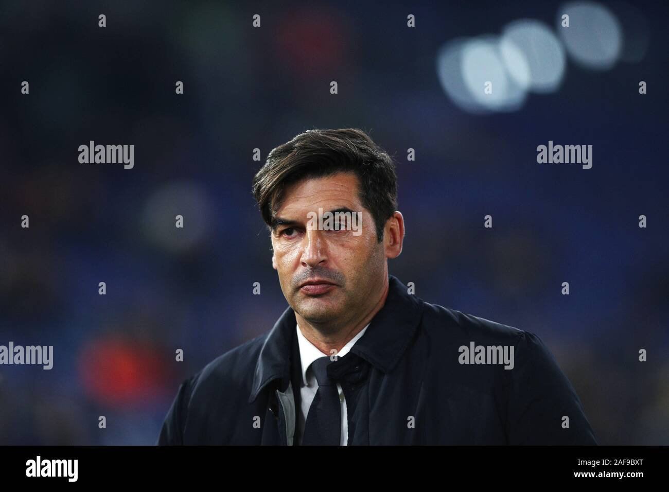 Roma head coach Paulo Fonseca reacts during the UEFA Europa League, Group J football match between AS Roma and Wolfsberg AC on December 12, 2019 at Stadio Olimpico in Rome, Italy - Photo Federico Proietti/ESPA-Images Stock Photo