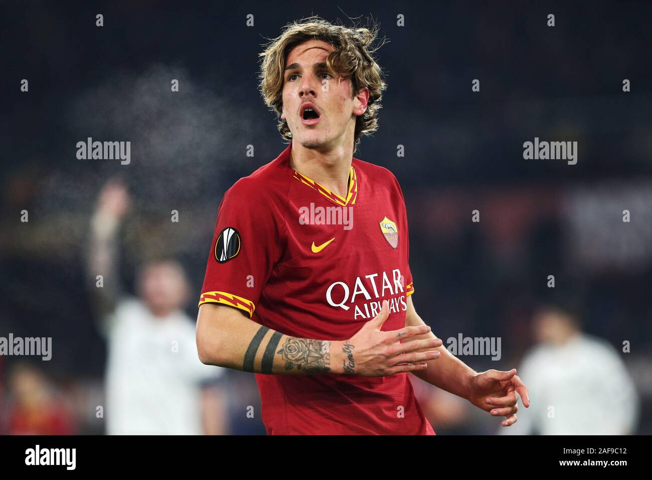 Nicolo' Zaniolo of Roma reacts during the UEFA Europa League, Group J football match between AS Roma and Wolfsberg AC on December 12, 2019 at Stadio Olimpico in Rome, Italy - Photo Federico Proietti/ESPA-Images Stock Photo