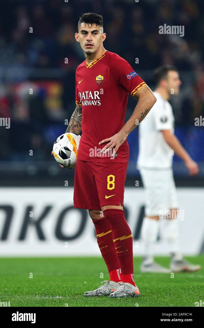 Diego Perotti of Roma before kicking the penalty during the UEFA Europa League, Group J football match between AS Roma and Wolfsberg AC on December 12, 2019 at Stadio Olimpico in Rome, Italy - Photo Federico Proietti/ESPA-Images Stock Photo