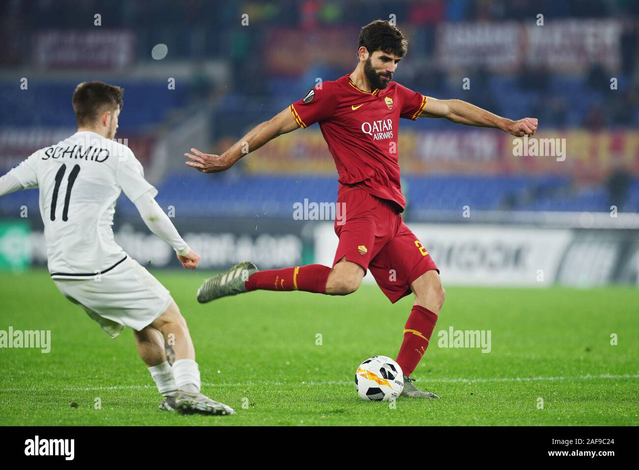 Federico Fazio of Roma in action during the UEFA Europa League, Group J football match between AS Roma and Wolfsberg AC on December 12, 2019 at Stadio Olimpico in Rome, Italy - Photo Federico Proietti/ESPA-Images Stock Photo