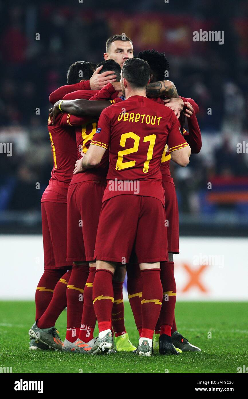 Diego Perotti of Roma celebrates with Edin Dzeko and his teammates, after scoring 1-0 goal by penalty during the UEFA Europa League, Group J football match between AS Roma and Wolfsberg AC on December 12, 2019 at Stadio Olimpico in Rome, Italy - Photo Federico Proietti/ESPA-Images Stock Photo