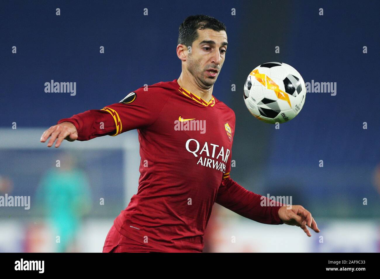Henrikh Mkhitaryan of Roma in action during the UEFA Europa League, Group J football match between AS Roma and Wolfsberg AC on December 12, 2019 at Stadio Olimpico in Rome, Italy - Photo Federico Proietti/ESPA-Images Stock Photo
