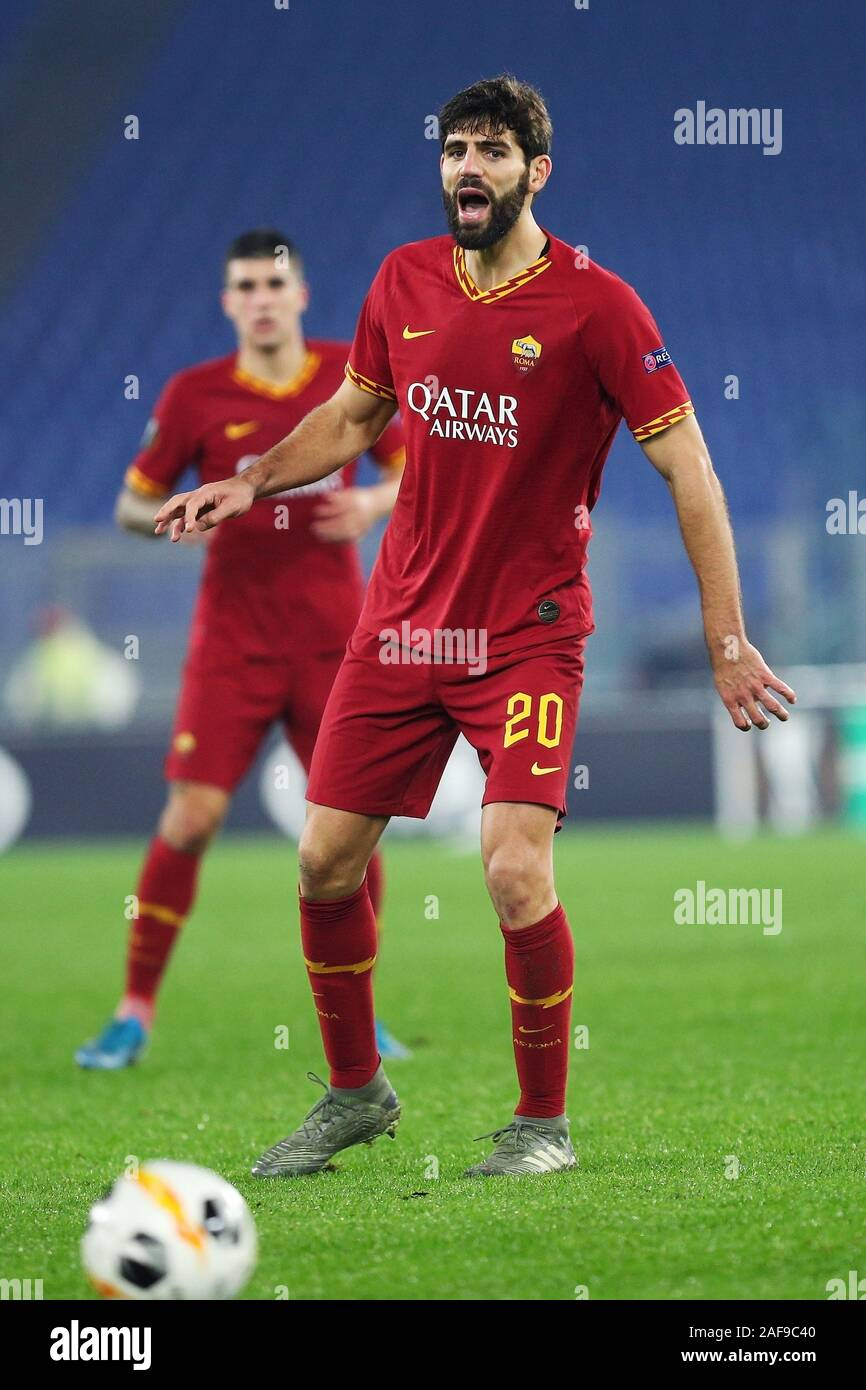 Federico Fazio of Roma reacts during the UEFA Europa League, Group J football match between AS Roma and Wolfsberg AC on December 12, 2019 at Stadio Olimpico in Rome, Italy - Photo Federico Proietti/ESPA-Images Stock Photo