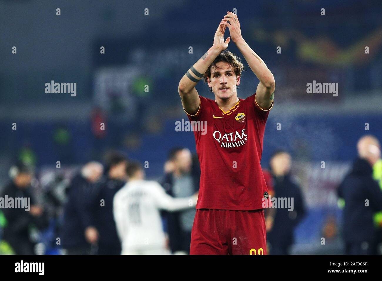 Nicolo' Zaniolo of Roma greets his supporters at the end of the UEFA Europa League, Group J football match between AS Roma and Wolfsberg AC on December 12, 2019 at Stadio Olimpico in Rome, Italy - Photo Federico Proietti/ESPA-Images Stock Photo