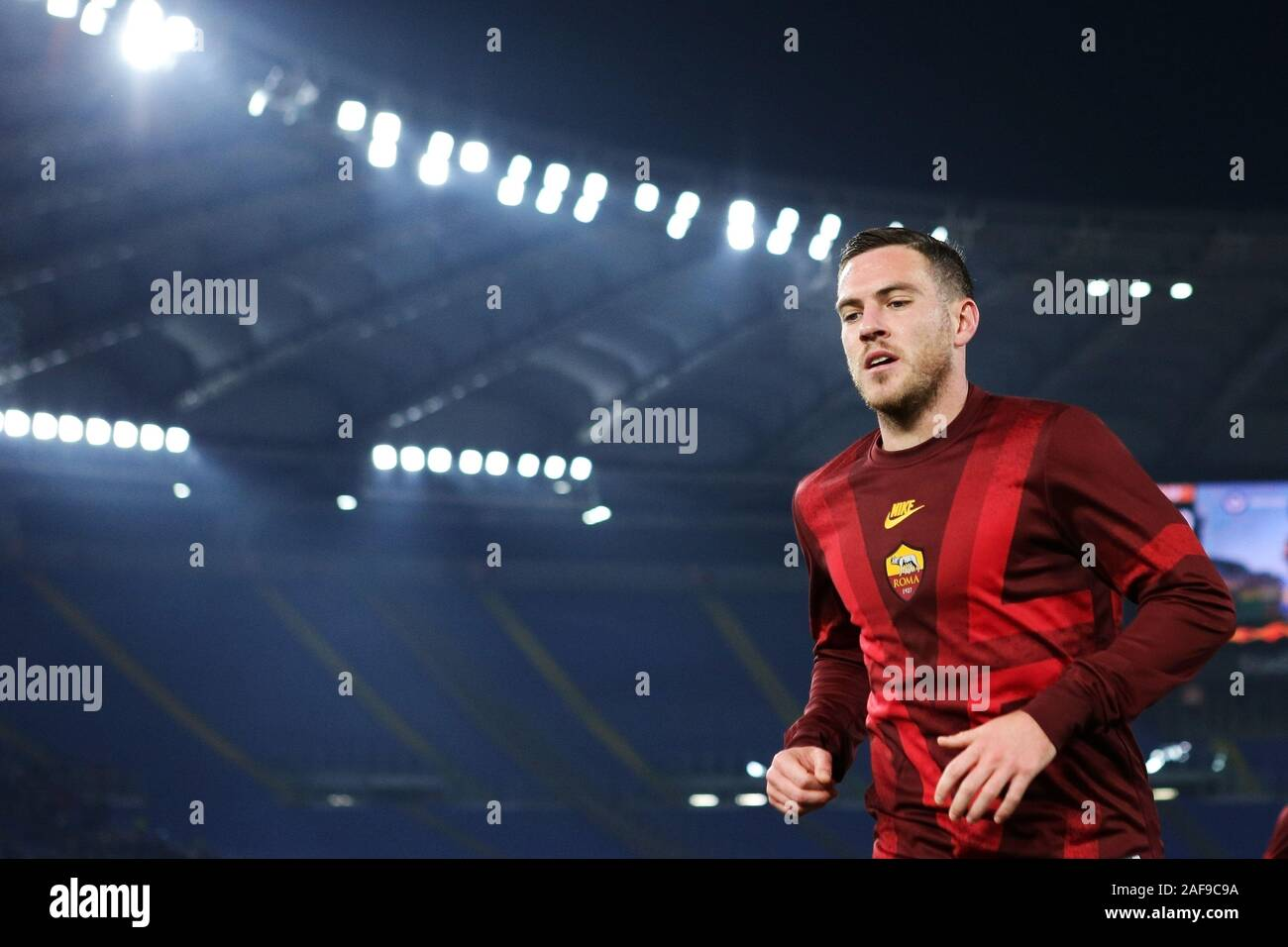 Jordan Veretout of Roma at the end of the warm up before the UEFA Europa League, Group J football match between AS Roma and Wolfsberg AC on December 12, 2019 at Stadio Olimpico in Rome, Italy - Photo Federico Proietti/ESPA-Images Stock Photo