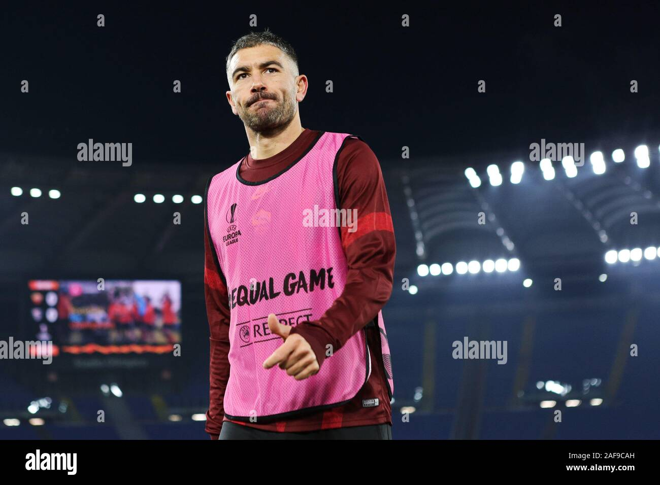 Aleksandar Kolarov of Roma at the end of the warm up before the UEFA Europa League, Group J football match between AS Roma and Wolfsberg AC on December 12, 2019 at Stadio Olimpico in Rome, Italy - Photo Federico Proietti/ESPA-Images Stock Photo