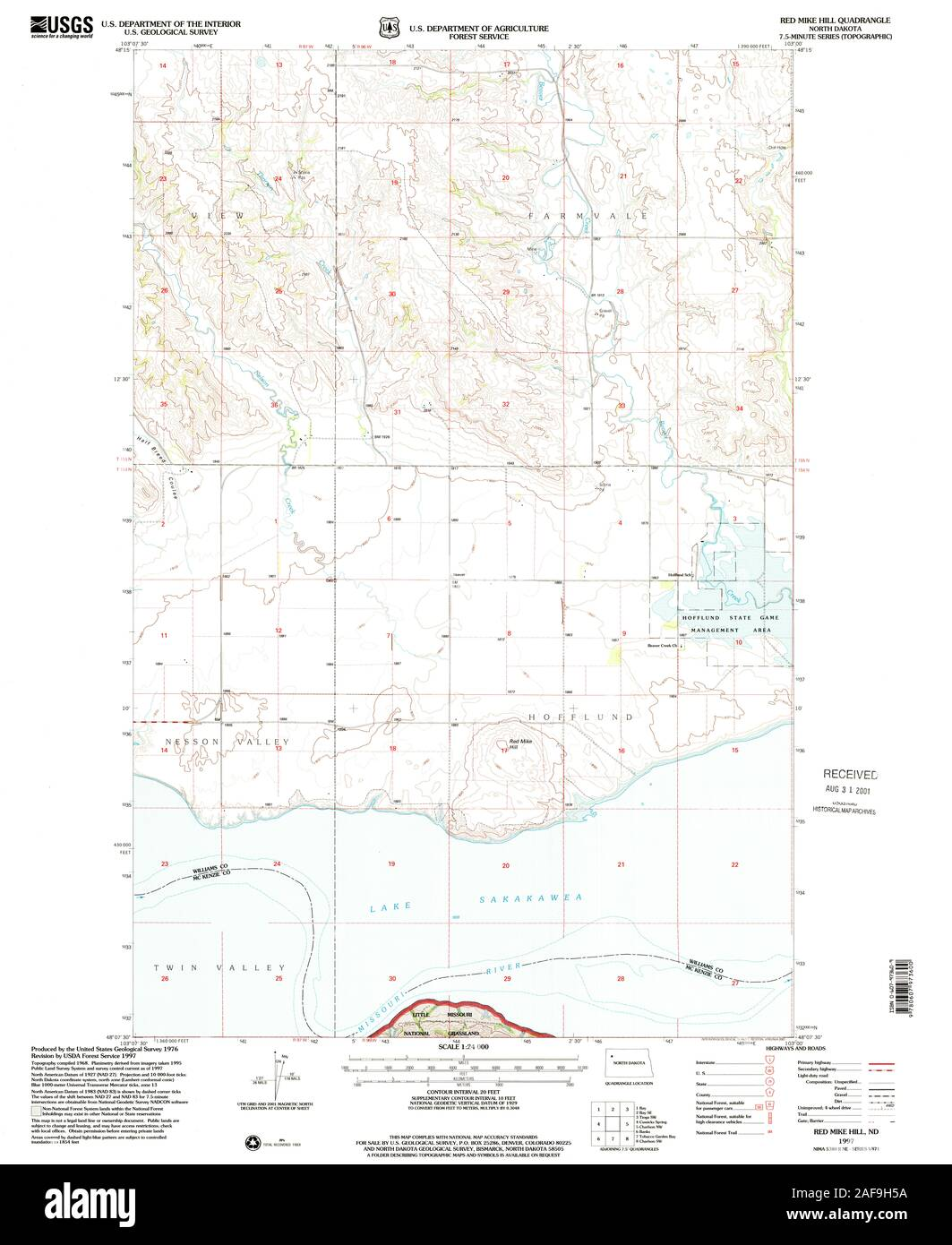 USGS TOPO Map North Dakota ND Red Mike Hill 284799 1997 ...