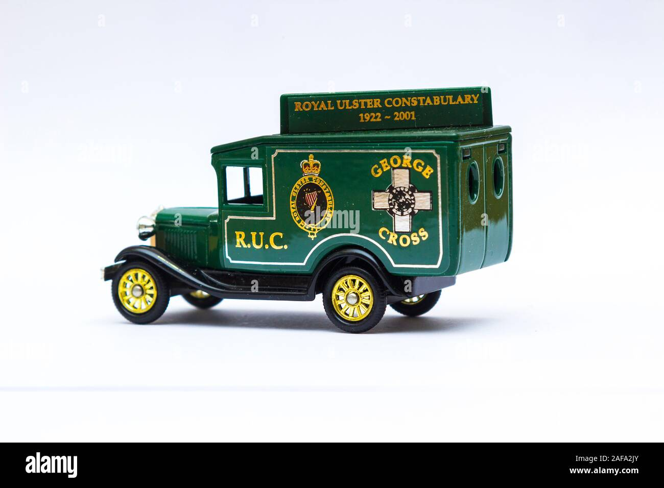 29 November 2019 Model T Ford die cast Scale Model Van collectible in the livery of now non existent Royal Ulster Constabulary celebrating their Georg Stock Photo