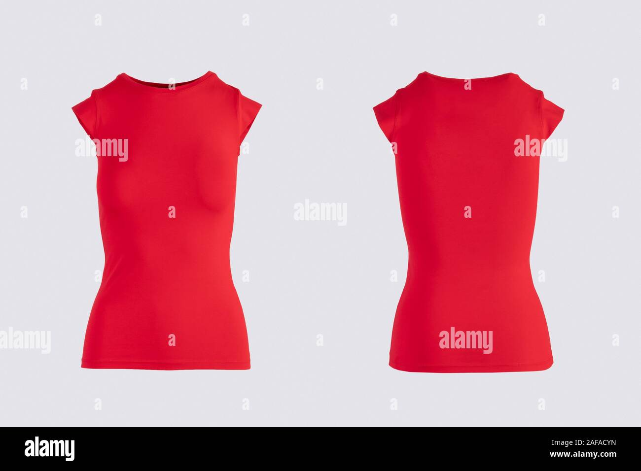 Women S Blank Red Short Sleeve T Shirt Front And Back Rear View