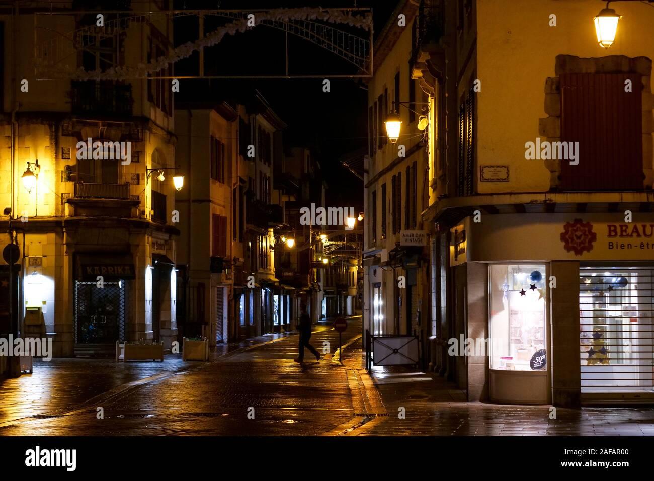 Night view in the streets of Saint-Jean de Luz, Pyrénées-Atlantiques, France Stock Photo