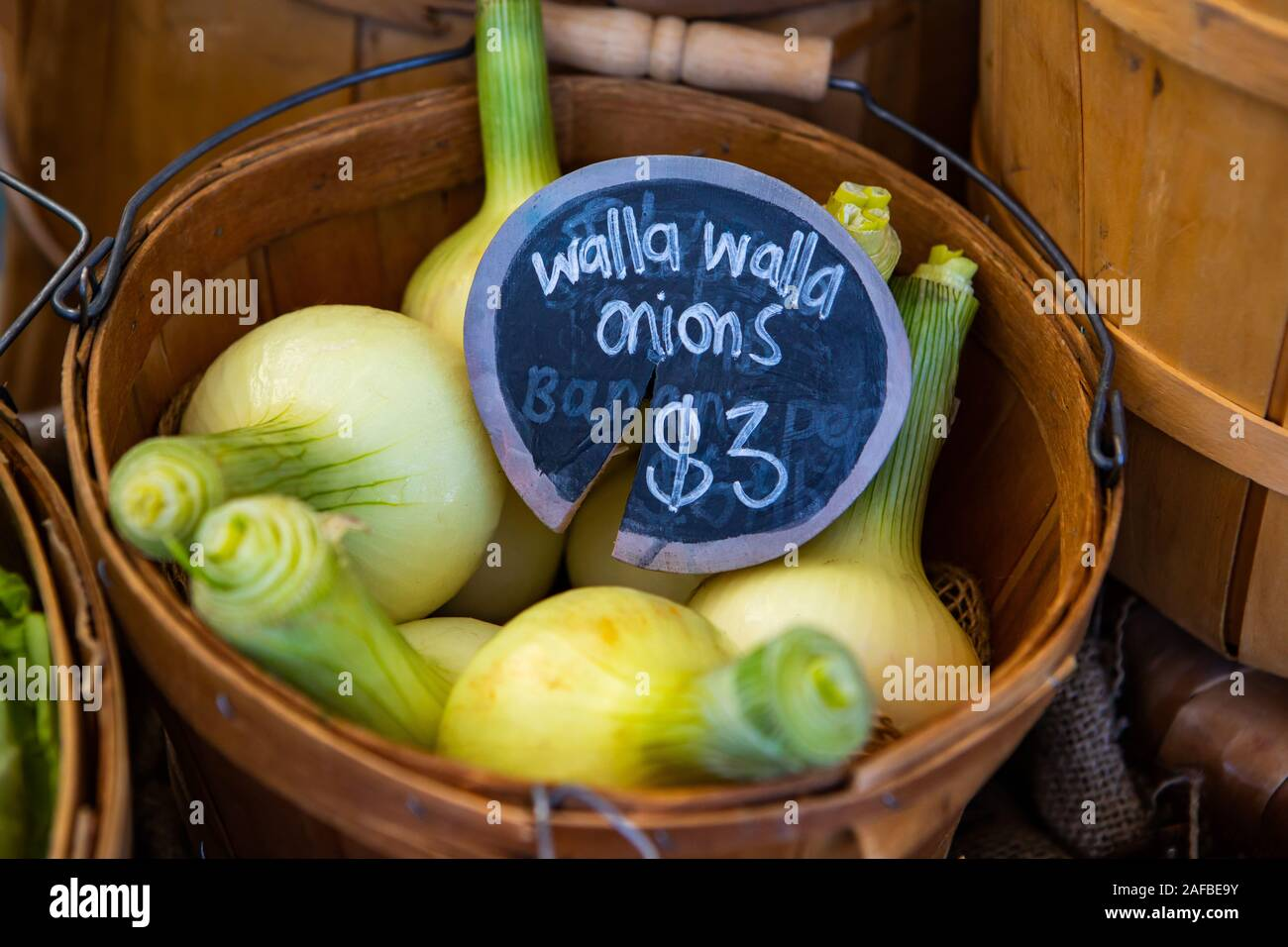 A closeup view of traditional wooden pales filled with walla walla onions, a variety of sweet onion, and a price tag during a local harvest fair Stock Photo