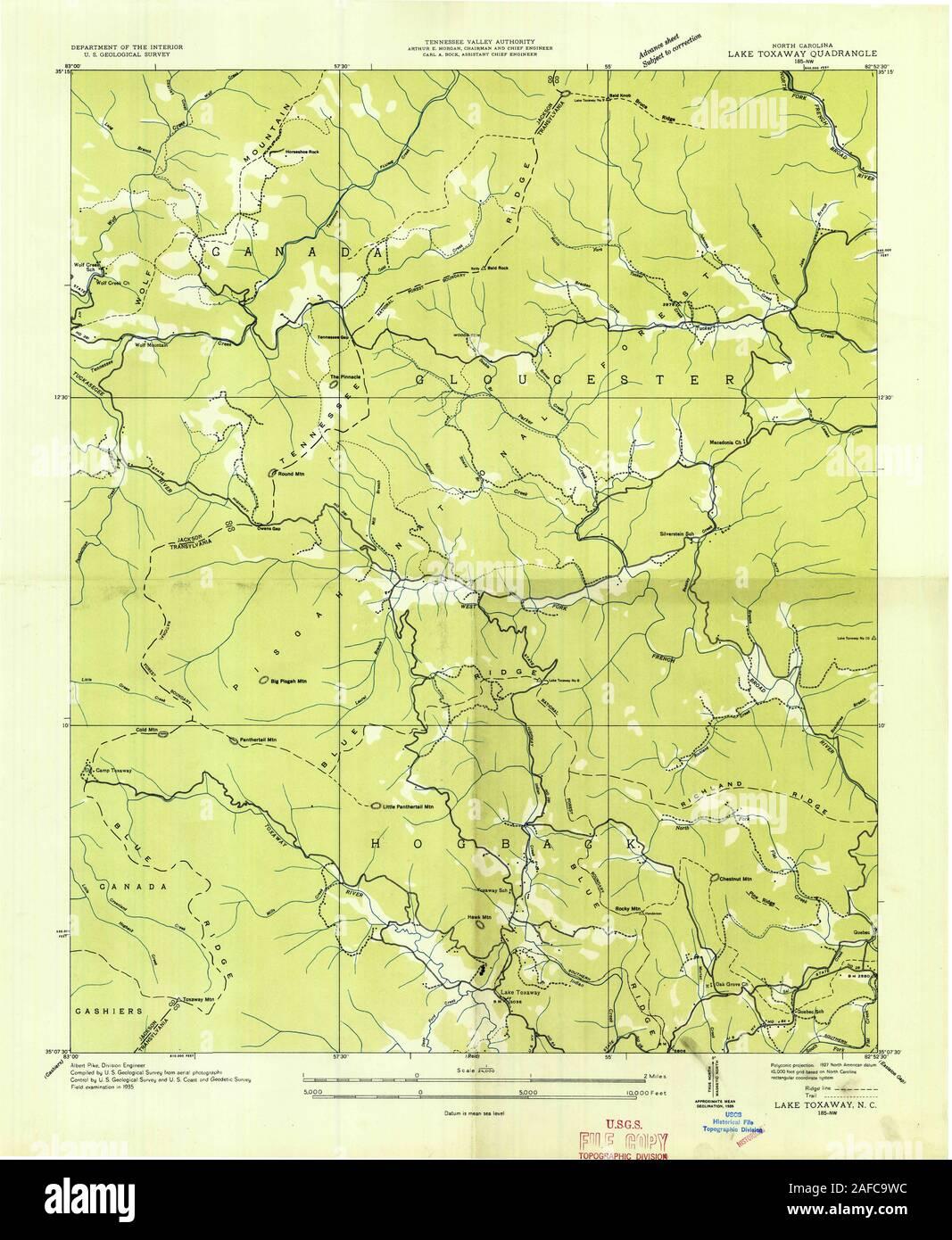 Usgs Topo Map North Carolina Nc Lake Toxaway 162808 1935 24000