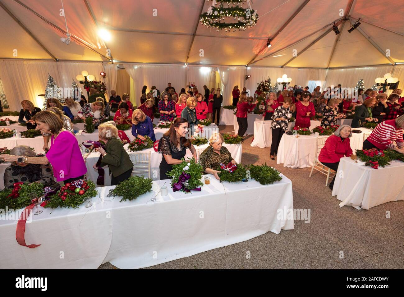 Washington, United States Of America. 11th Dec, 2019. Second Lady Karen Pence decorates Christmas wreaths with congressional spouses Wednesday, Dec. 11, 2019, at the Vice PresidentÕs Residence in Washington, D.C People: Second Lady Karen Pence Credit: Storms Media Group/Alamy Live News Stock Photo