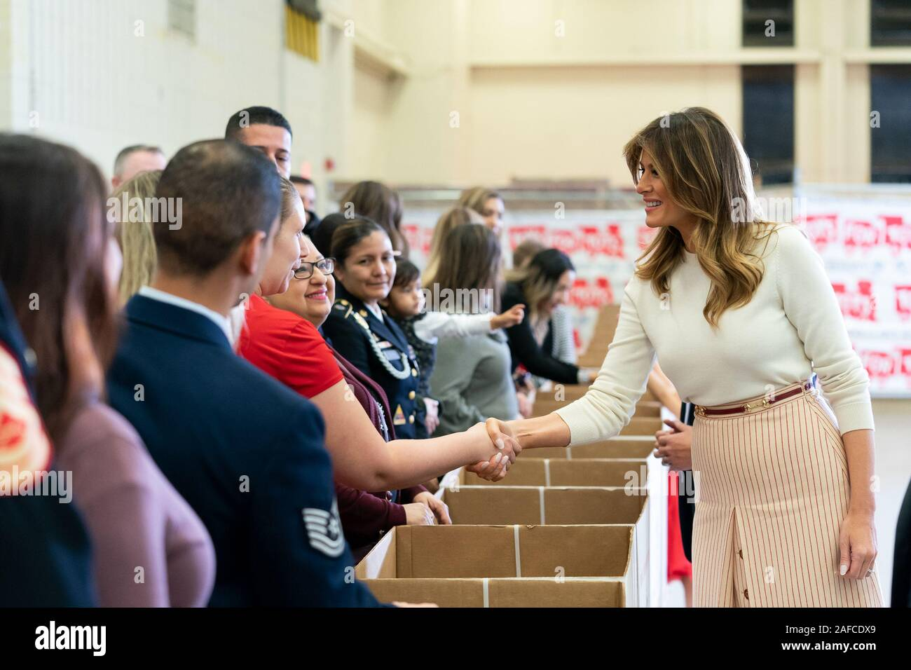 Washington, United States Of America. 09th Dec, 2019. First Lady Melania Trump greets service members and their families attending a Toys for Tots Christmas Event Monday, Dec. 9, 2019, at Joint Base Anacostia-Bolling in Washington, DC People: First Lady Melania Trump Credit: Storms Media Group/Alamy Live News Stock Photo