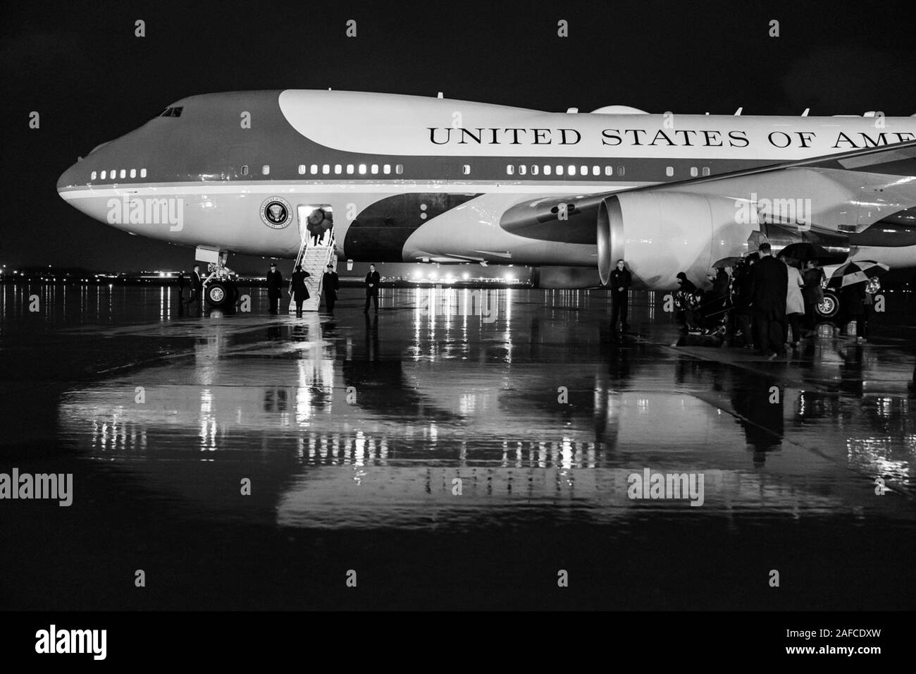 Washington, United States Of America. 10th Dec, 2019. President Donald J. Trump boards Air Force One at Joint Base Andrews, Md. Tuesday, Dec. 10, 2019, en route to Hersey, Pa. People: Credit: Storms Media Group/Alamy Live News Stock Photo