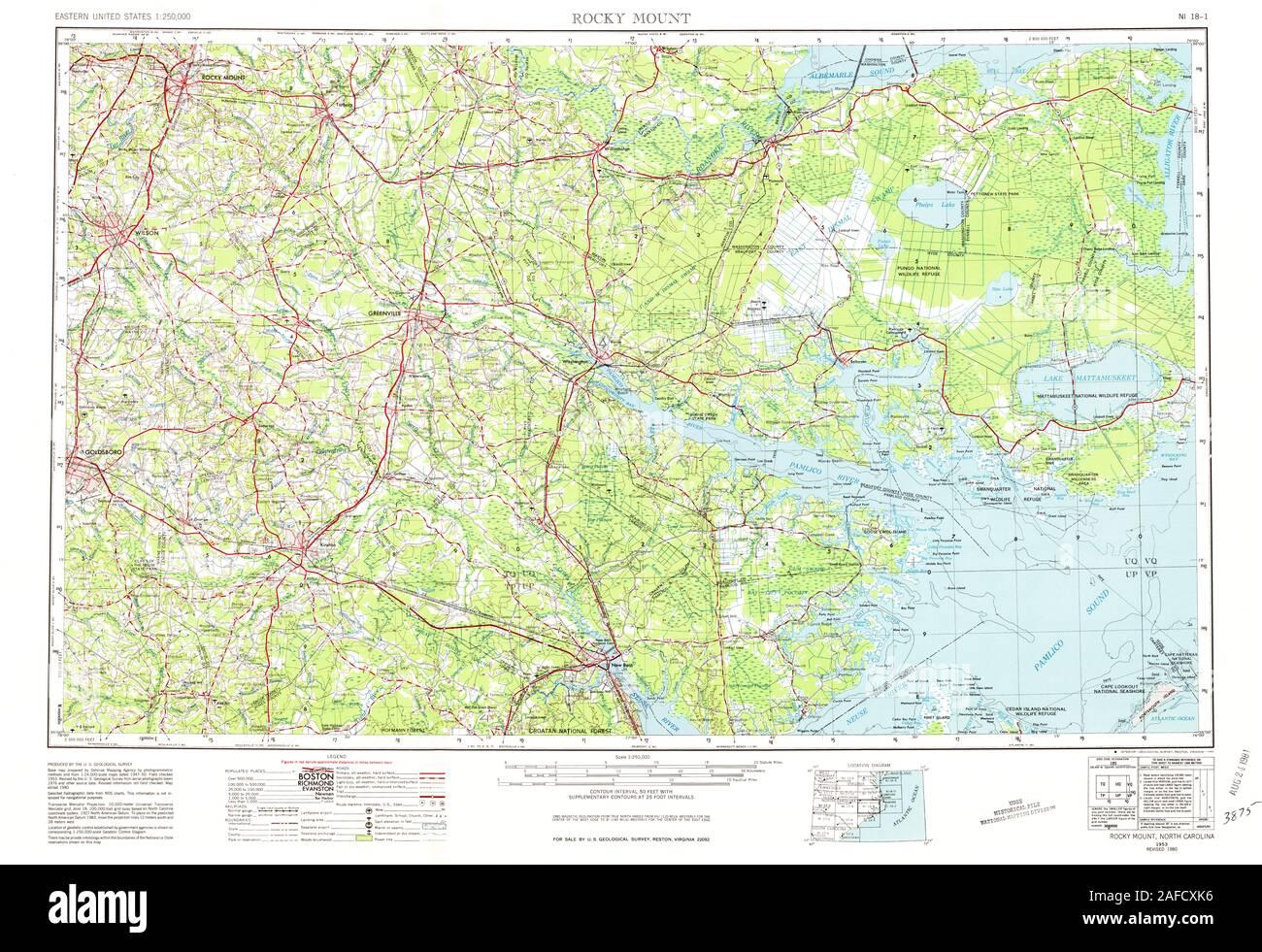 USGS TOPO Map North Carolina NC Rocky Mount 164767 1953 ...