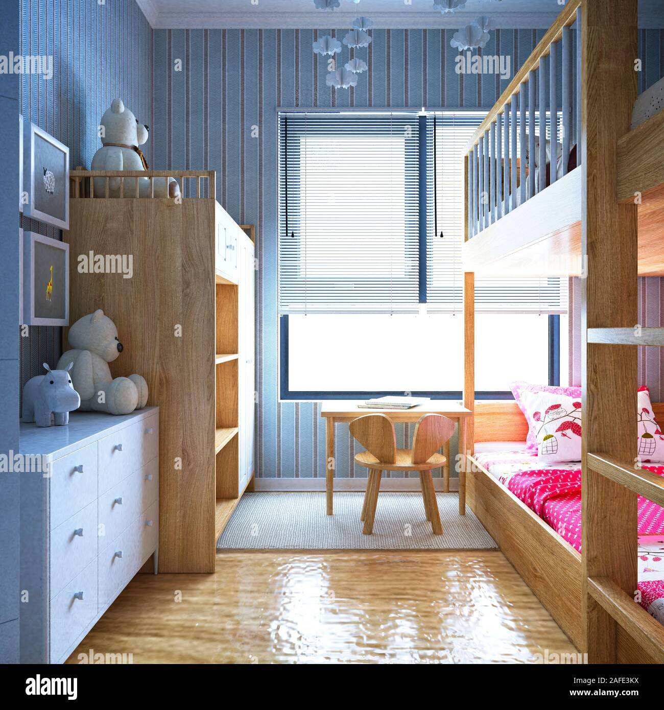 3d Render Modern Kids Bedroom Stock Photo Alamy