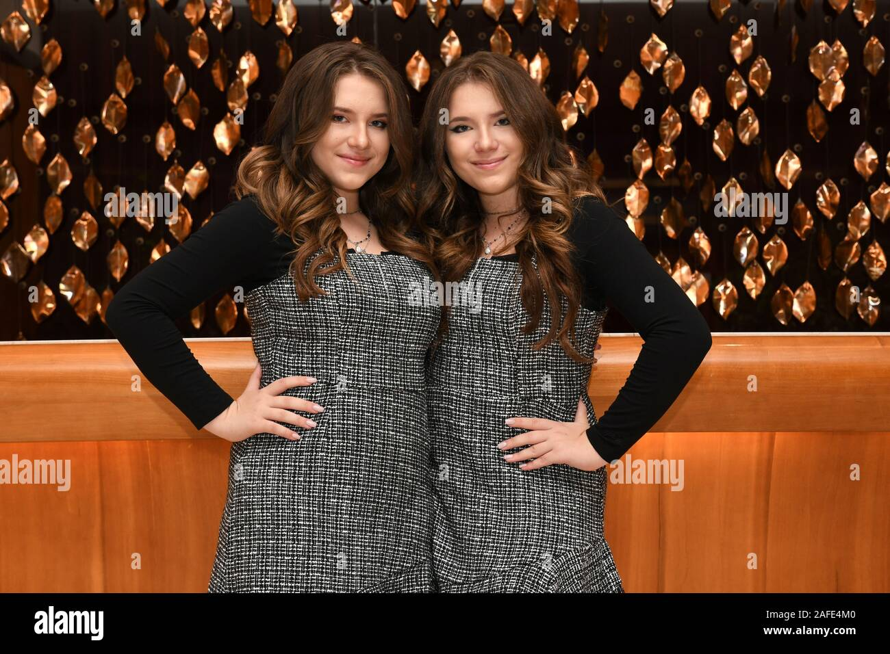 ***Minimum fee £40/$40 per picture for online use*** Bianca and Chiara D'ambrosio, better known as the D'ambrosio Twins pose for portraits at their hotel in Naples, Italy  Where: Naples, Italy When: 09 Nov 2019 Credit: IPA/WENN.com  **Only available for publication in UK, USA, Germany, Austria, Switzerland** Stock Photo