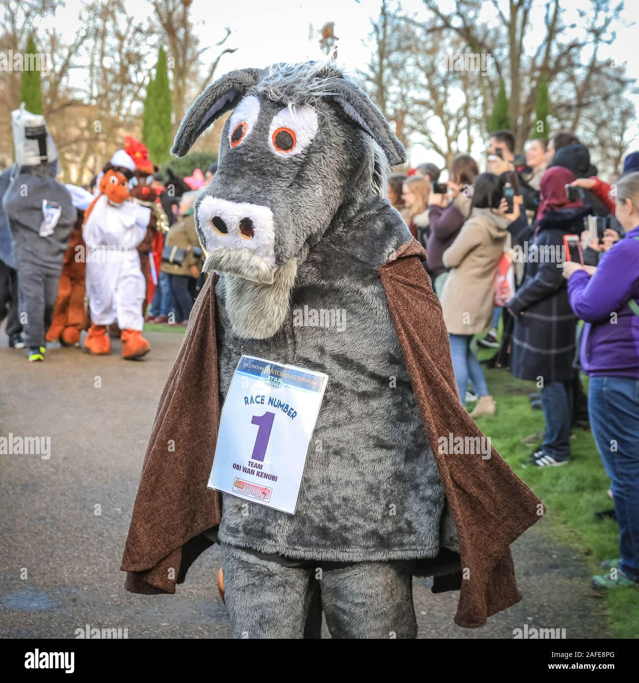 Greenwich London 15th Dec 2019 And They Re Off The Madcap Panto Horses In Their Race From Pub To Pub In It S 10th Anniversary Edition The London Pantomime Horse Race 2019 Features