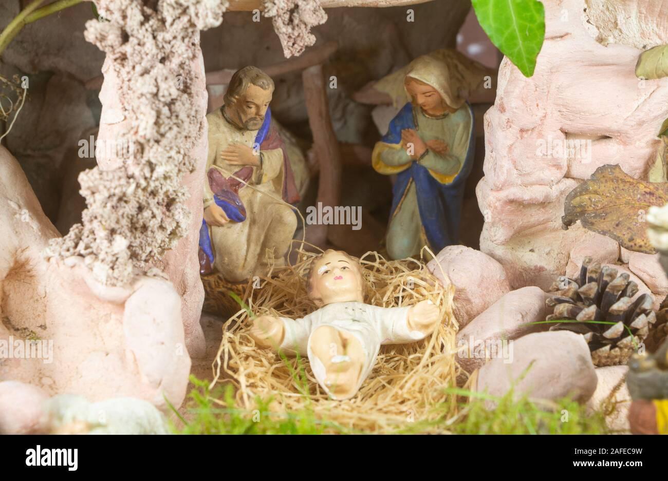 Nativity scene with provencal Christmas crib figures in terracotta Stock Photo