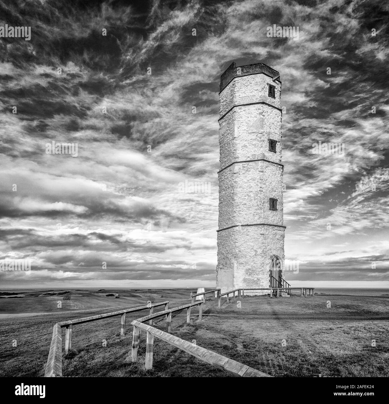 The old Chalk Tower listed building at Flamborough Head with a stunning sky backdrop, East Riding of Yorkshire, UK Stock Photo