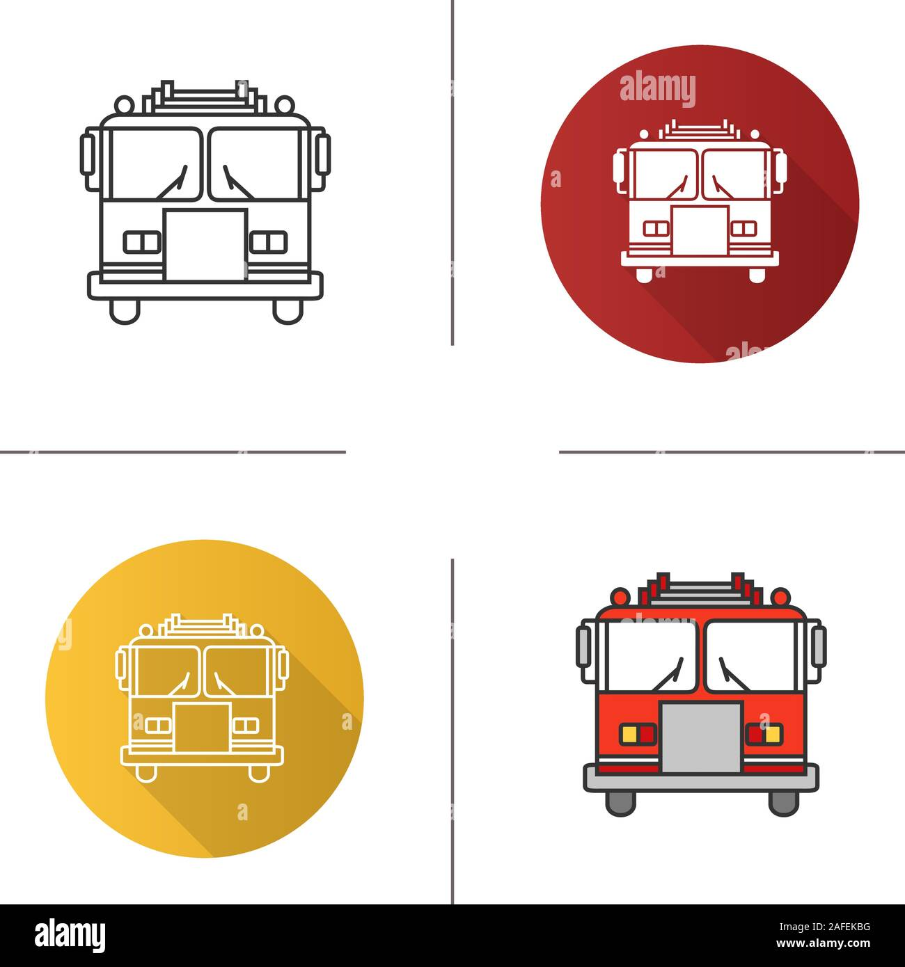 fire engine icon. flat design, linear and color styles. firefighting truck.  isolated vector illustrations stock vector image & art - alamy  alamy