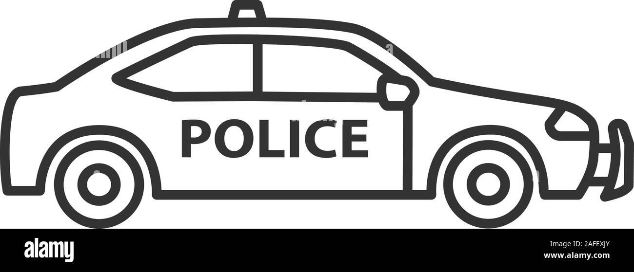 Police car linear icon. Thin line illustration. Contour symbol ...