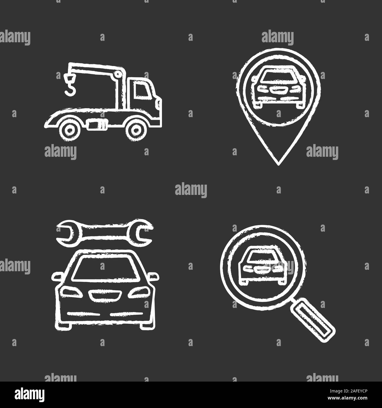 Auto workshop chalk icons set. Tow truck, gps navigation, repair service, car searching. Isolated vector chalkboard illustrations Stock Vector