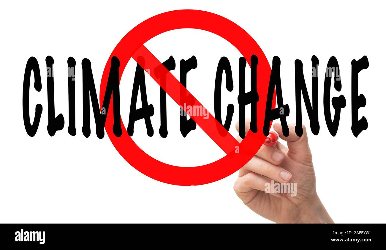 Male Hand Drawing A Stop Sign Around The Words Climate Change Stock Photo Alamy