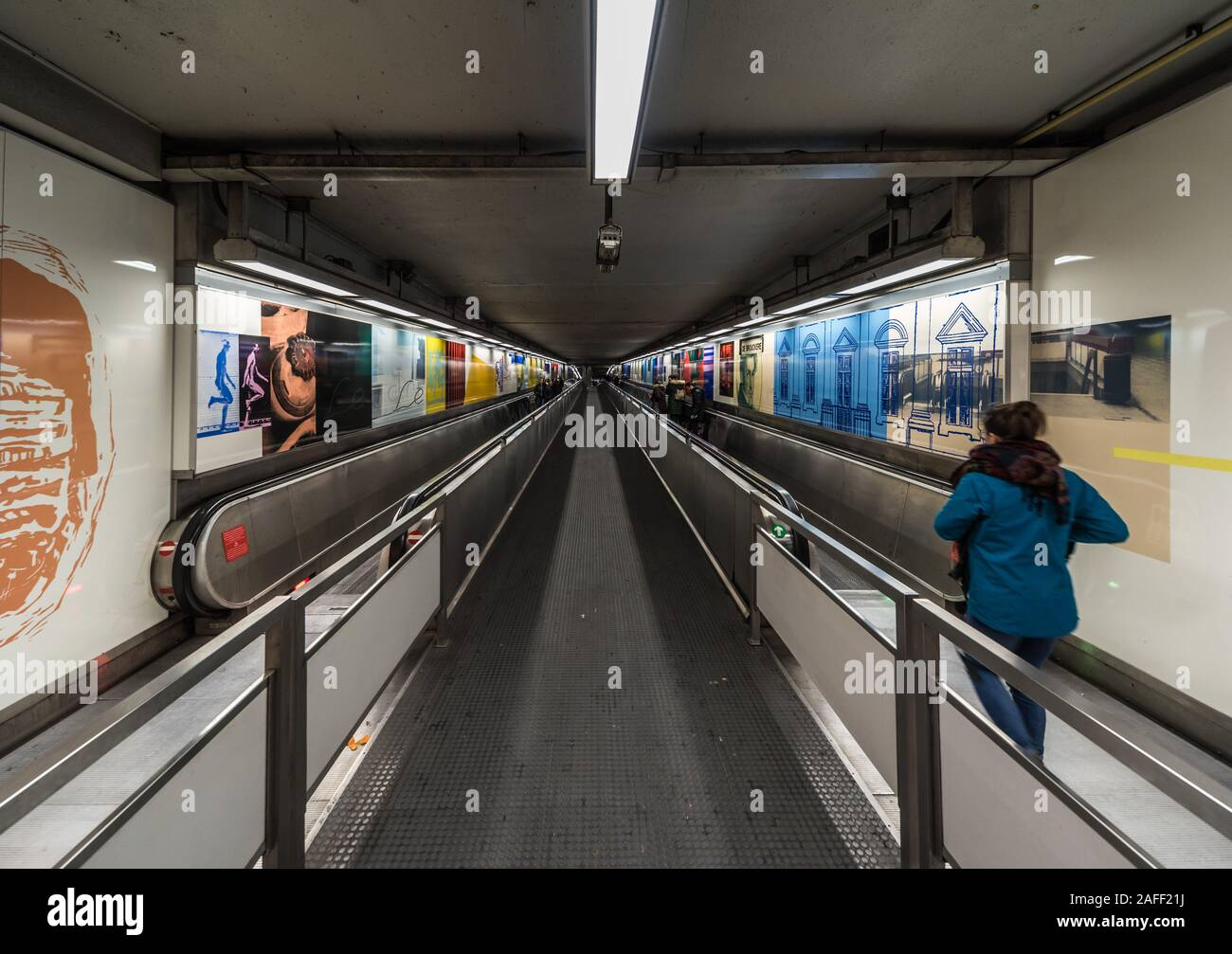 Brussels Old Town, Brussels Capital Region / Belgium - 12 06 2019: Interio of the De Brouckère public transportation metro and tramway hub Stock Photo