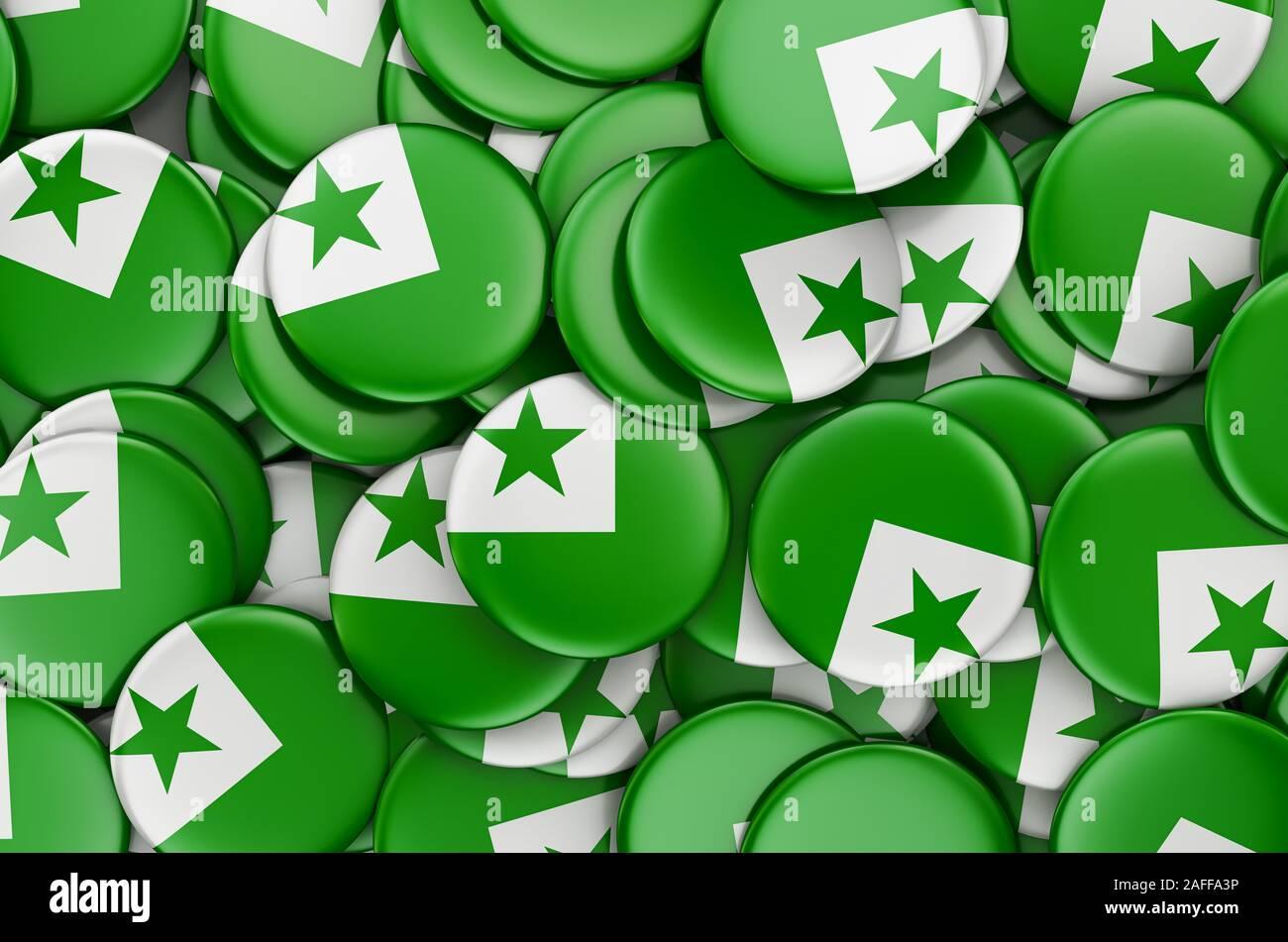 Flag patch printed badge country esperanto