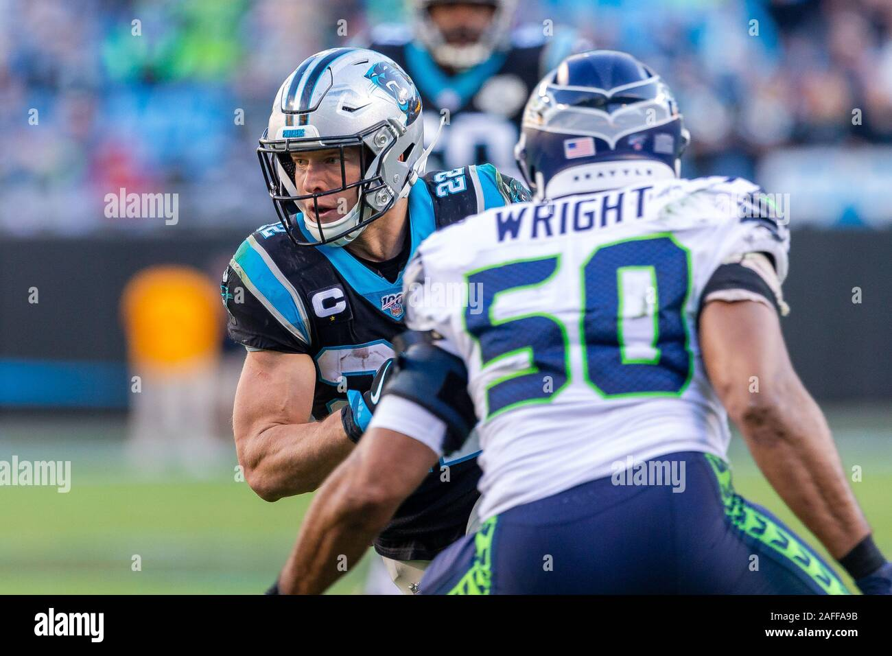 charlotte nc usa 15th dec 2019 carolina panthers running back christian mccaffrey 22 runs with the ball against the seattle seahawks in the fourth quarter of the nfl matchup at bank of america stadium in charlotte nc scott kinsercal sport media credit csmalamy live news 2AFFA9B