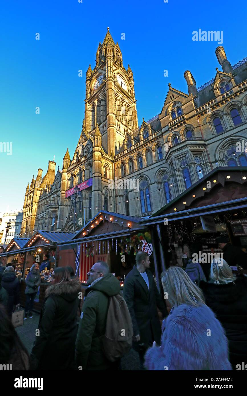 Christmas Markets,Manchester Town Hall, Albert Square,Manchester,England,UK, M2 5DB Stock Photo