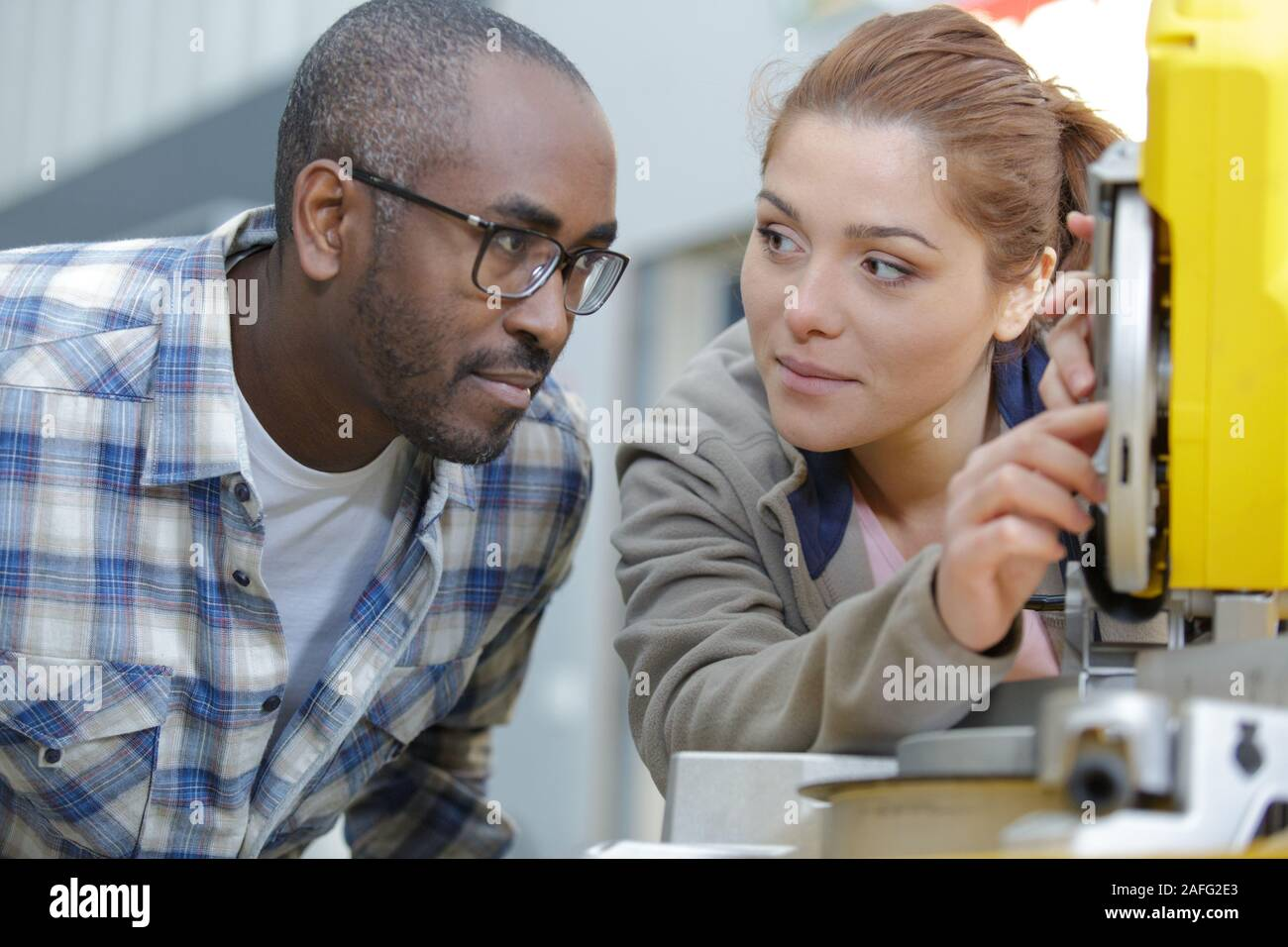 they worker together in factory Stock Photo