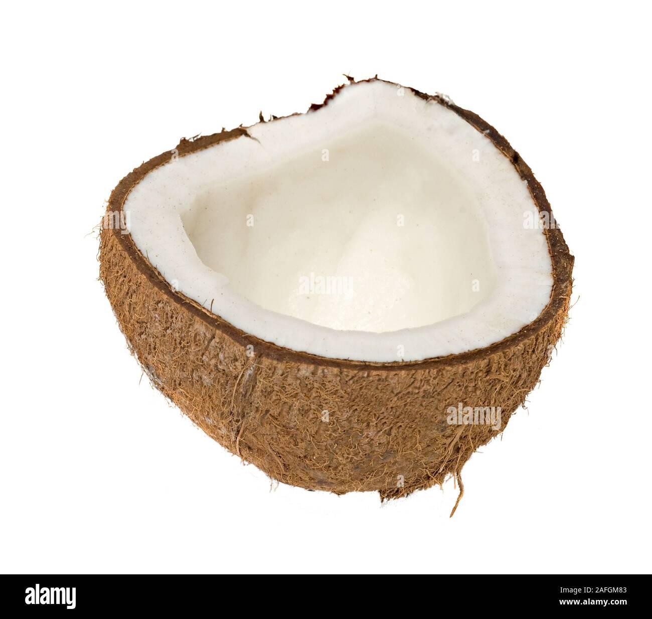 Section of cocanut isolated on white background Stock Photo